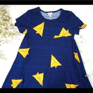 LulaRoe • Carly Paper Airplane Skater Dress • SzXS